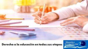 Derecho a la educación en todas sus etapas