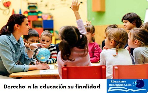 Derecho a la educación su finalidad