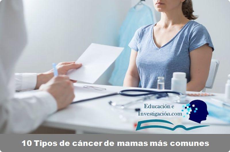 10 Tipos de cáncer de mamas más comunes