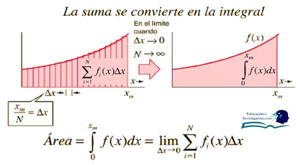Las integrales se obtienen a partir de la suma de infinitas áreas bajo la curva